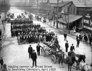Hauling Cannon up Broad street to Sewickley Cemetary, 1905